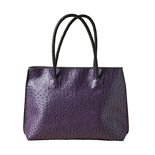 Women's Vegan Handbag - Ostrich Look Embossed Tote with Zip Close - Plum