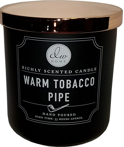 Medium Warm Tobacco Pipe Candle in Glass Jar With Copper Lid- 9.21 Oz.