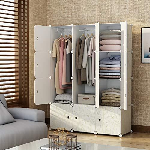 (KOUSI Portable Closet Wardrobe Closets Clothes Wardrobe Bedroom Armoire Storage Organizer with Doors, Capacious Sturdy, Wood Pattern, 6 Cubes,2 Hanging Sections)