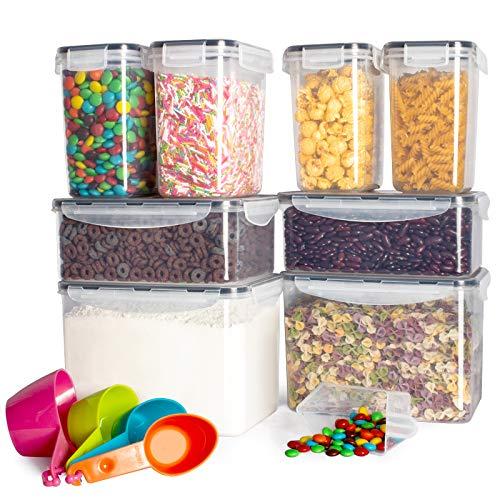 Kitsure Airtight Food Storage Container Set wtih Lids – 8 PC – Leak-proof & BPA Free, Pantry Organization and Storage…