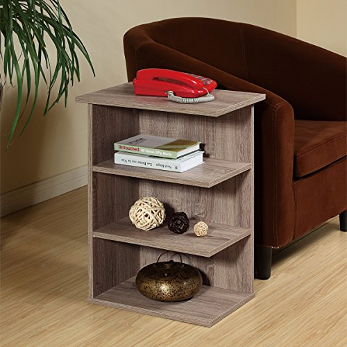 Magazine Rack Chairside End Table Rustic Grey Oak by Home Concept – Set Newspapers, Coffee, or Books on This Classic Design Perfect for Living Rooms or Reading Nooks- Small, Grey 11451RG