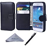 S4 Mini Case, Wisdompro® Premium PU Leather 2-in-1 Protective [Folio Flip Wallet] Case with Credit Card Holder/Slots for Samsung Galaxy S4 Mini(NOT S4 FIT) -Black w/o lanyard