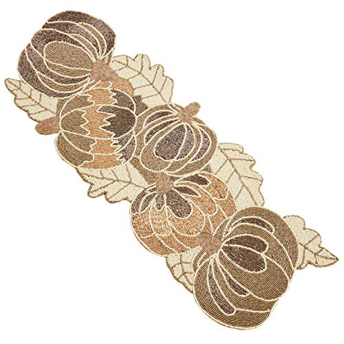 Occasion Gallery Gold Beaded Pumpkin Table Runner, 13