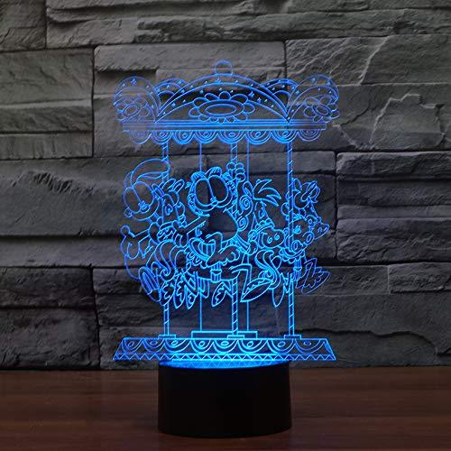Spezial- & Stimmungsbeleuchtung Spezial- & Stimmungsbeleuchtung Kjfgkf @ 3D Nachtlicht 7 Farben Ändern Led Cartoon Charakter Kinder Geschenke 3D Nachtlicht Karussell Schreibtischlampe Wohnkultur Schlaf Beleuchtung