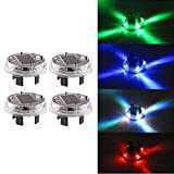 SUNREEK™4 Color Modes 12V LED Solar Power Flashing Tire Light Wheel Light Lamp for Car Motorcycles Bicycles (4 Pcs)