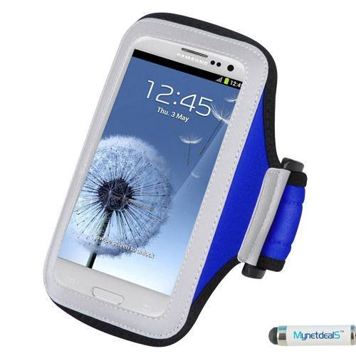 Premium Sport Armband Case for Kyocera Hydro VIBE - Navy Blue + MYNETDEALS Mini Touch Screen Stylus