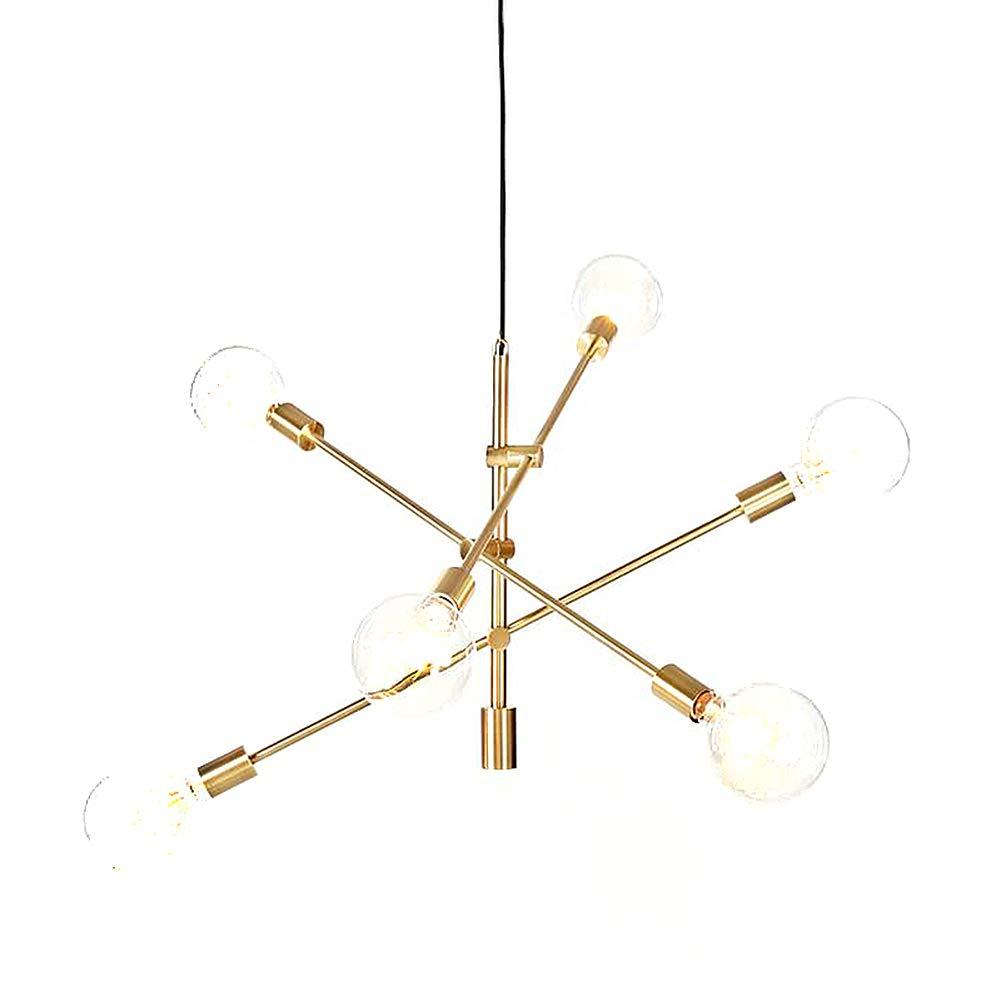 Yoka pendant light polished gold contemporary stem hung chandelier fixture modern lamp 6 lights hanging flush mount gold