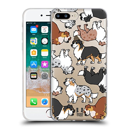Head Case Designs Australian Shepherd Dog Breed Patterns 3 Soft Gel Case for iPhone 7 Plus/iPhone 8 Plus ()