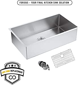 FORIOUS 30 Undermount kitchen Sink, 16 Gauge Stainless Steel Kitchen Sink Single Bowl Undermount,Brushed Nickel Utility Sinks with Sink Strainer Stainless Steel and Dish Grid, RV Sink