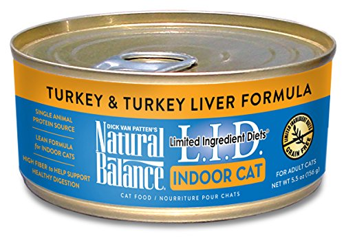 (Natural Balance L.I.D. Limited Ingredient Diets Wet Cat Food For Indoor Cats, Turkey & Turkey Liver Formula, 5.5-Ounce Can (Pack Of)