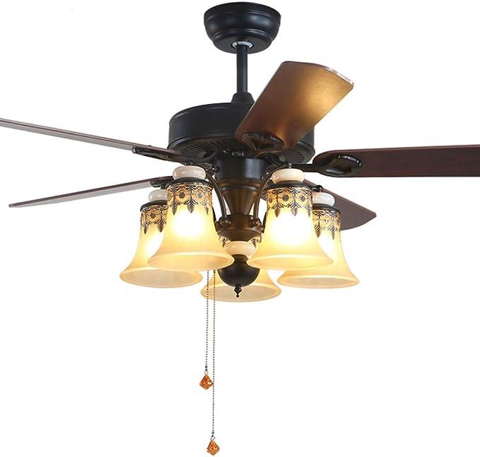 Ventilador techo con luz Ventilador doméstico con luz de habitación luz de Ventilador silenciosa Ventilador de Madera, Retro, Interruptor de Cuerda (Color : Brown, Size : 122 * 53cm): Amazon.es: Hogar