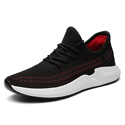 Kvovzo Mens Walking Athletic Shoes Comfort Casual Sneaker Trail Running Shoe for Men Tennis Baseball Racquetball Cycling(1078black/red40)