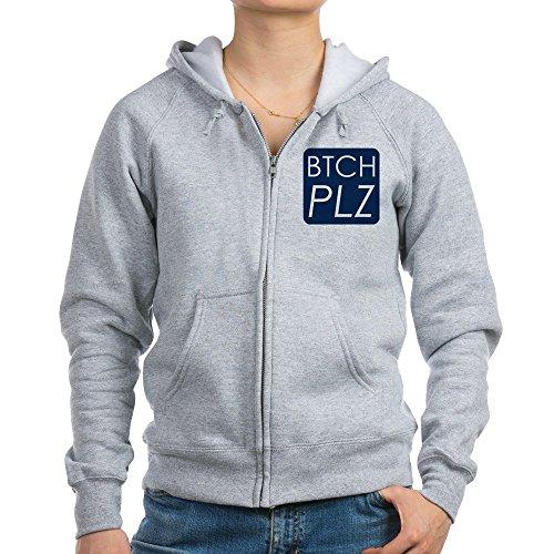 Royal Lion Women's Zip Hoodie Btch Plz Bitch Please Haute Couture - Light Steel, Small