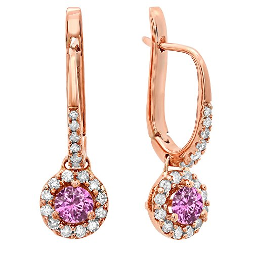 - 14K Rose Gold 3 MM Each Round Pink Sapphire & White Diamond Ladies Halo Dangling Drop Earrings