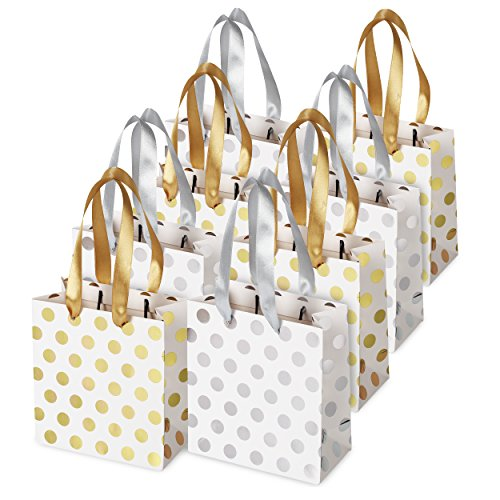 Small Gift Bags for Bridal, Wedding, Birthday, Christmas Holidays Graduation Wedding Showers, Small (Gold Silver Metallic Dots 8 Pack)