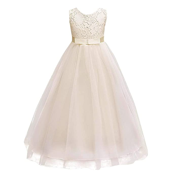 70c3639511b Big Girls Vintage Lace Bridesmaid Dress Dance Ball Party Maxi Gown Beige  4-5T
