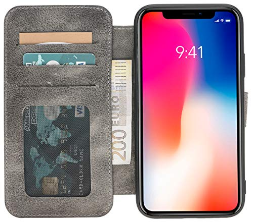 (Solo Pelle iPhone XR Leather Wallet Carrying Case in Stone Gray Burned )