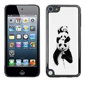 TECHCASE**Cubierta de la caja de protección la piel dura para el ** Apple iPod Touch 5 ** Panda Bears Bamboo Black White Baby Cute