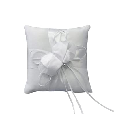 kingko® blanco Lovely Bud con lazo de cinta boda anillo ...