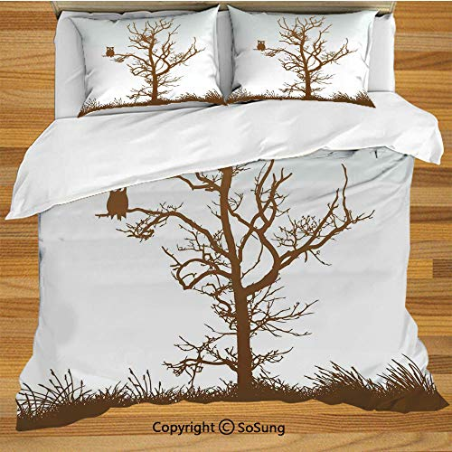 (Owls Home Decor King Size Bedding Duvet Cover Set,Cross Eyed Owl on Autumn Tree Branch Solitary Nocturnal Bird Artistic Print Decorative 3 Piece Bedding Set with 2 Pillow Shams,Chocolate Ice Blue )