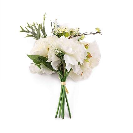 Amazon.com: Saideke Home Artificial White Peony and Hydrangea Silk ...