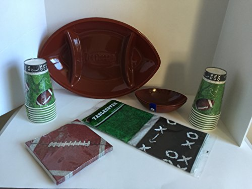 Superbowl Football Party Set- Football Serving Tray,2 Chip/dip Bowls, Pack of 14 Plates, 2 Pack of 8 Cups (16 Total), Pack of Napkins (20 Count) and Table Cover