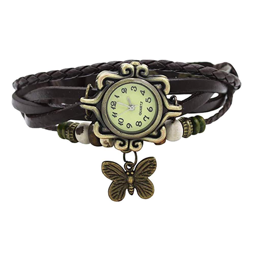 Pocciol Brown Retro Weave Wrap Lady Bead Butterfly Dangle Bracelet Bangle Quartz Wrist Watch (Black)