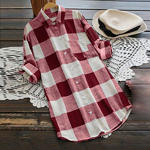 KYLEON Women Shirts O-Neck Lattice Print Long Sleeve Buttons Ladies Casual Blouse Summer Tank Tunics Vest Camis Tops Red by KYLEON (Image #1)