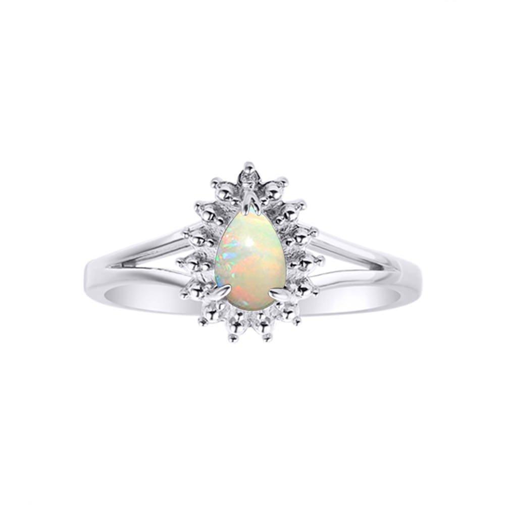 Diamond & Opal Ring Set In 14K White Gold