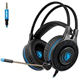 [2018 Newly Updated SADES SA936 Gaming Headset] 3.5mm Wired Stereo Sound Gaming Headset Over Ear Headphones With Microphone Noise Isolating for New Xbox One /PS4/ PC/ Laptop /phone (Black&Blue)