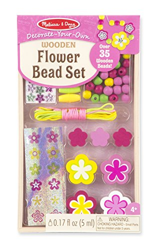 Melissa & Doug Decorate-Your-Own Wooden Flower Bead Jewelry-Making Craft Kit ()