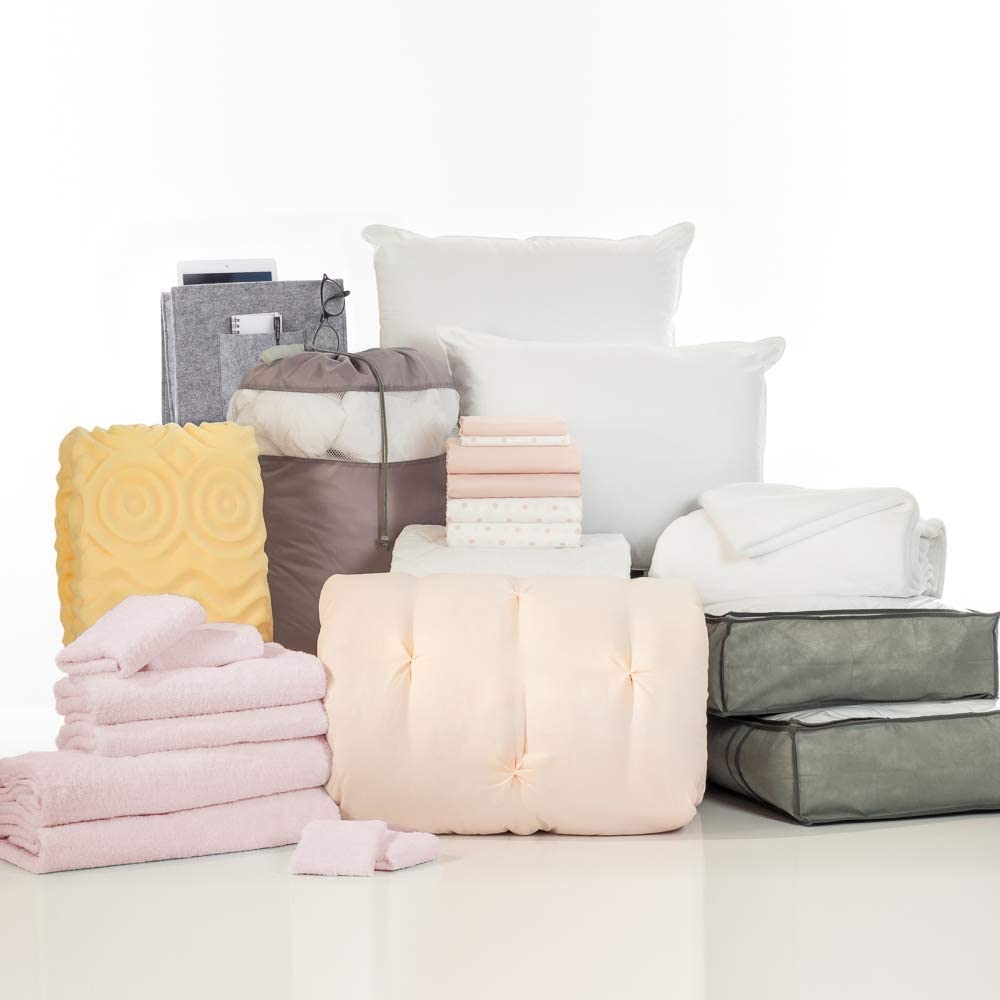 OCM College Dorm Room 24-Piece Complete Campus Pak   Twin XL   with Topper, Comforter, Sheets, Towels, Storage & More   Blush Kiss Pleat   Blush Pink and Polka Dot, Pinch Pleats