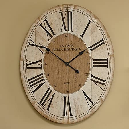 large oval clock  Large Oval Wooden Wall Clock: Amazon.co.uk: Kitchen