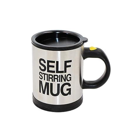 HanDingSM - Taza de café de acero inoxidable con autoagitación, funciona con pilas. Taza