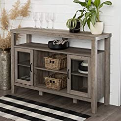 Kitchen WALKER EDISON Tall Wood Universal Stand with Open TV's up to 58″ Flat Screen Living Room Storage Entertainment Center, 52 Inch, Grey Wash modern buffet sideboards