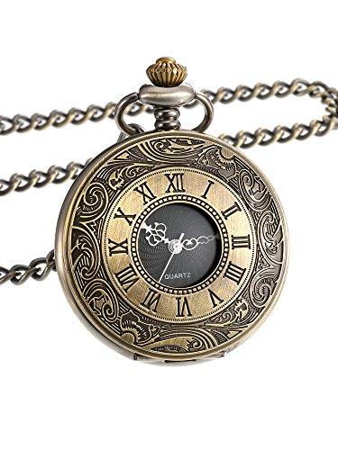 Mudder Vintage Roman Numerals Scale Quartz Pocket Watch with Chain (Bronze) Pocket Watch Timepiece