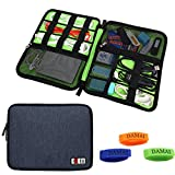 BUBM Universal Cable Organizer Electronics Accessories Case USB Drive Shuttle with Cable Tie Large-(Dark Blue)