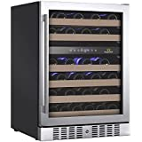 KingsBottle KBU-145D (RHH) 46 Bottle Dual Zone Wine Refrigerator with Glass Door, Stainless Steel