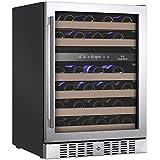 KingsBottle KBU-145D (RHH) 46 Bottle Dual Zone Wine Refrigerator with Glass Door, Stainless Steel