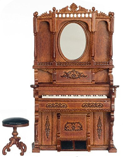 Dollhouse Miniature 1:12 Scale Walnut High Back Piano with Mirror and Stool #P6290
