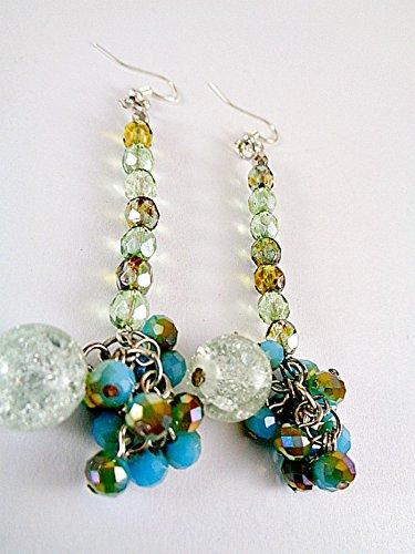 Czech Jewelry - Colorful Dangle Earrings For Women - Czech Glass, Crackle - Handmade by Joy Rocks Jewelry