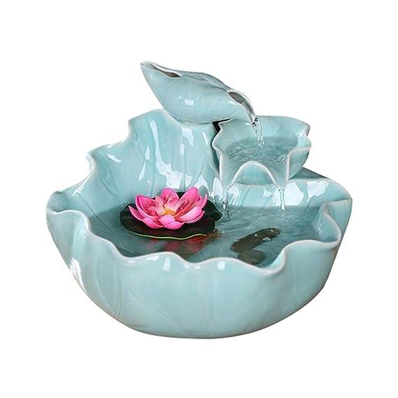 Fuente de mesa cubierta de agua Paisaje de cerámica Fuente de agua ...