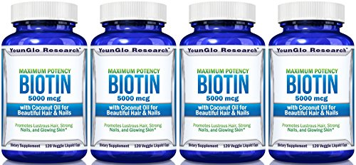 Biotin 5000 mcg plus Coconut Oil pills for Beautiful Hair - 120 Veggie Liquid Caps (4 Pack) by YounGlo Research
