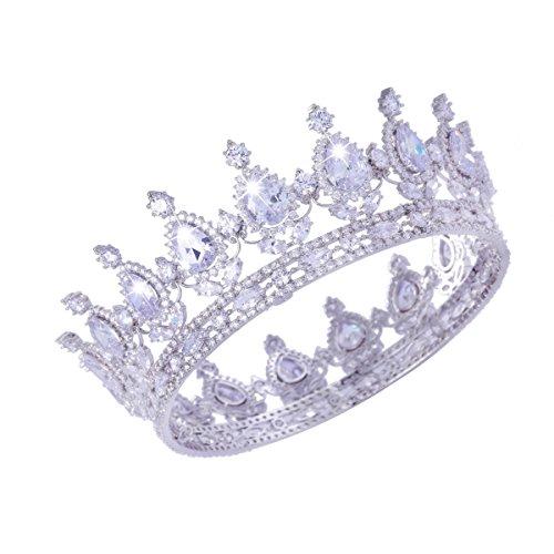 FUMUD Designs Vintage Peacock Full Cubic Zirconia Tiara Bridal Wedding Hair Accessories Birthday Party Crown Jewelry (Plating Platinum) by FUMUD (Image #3)