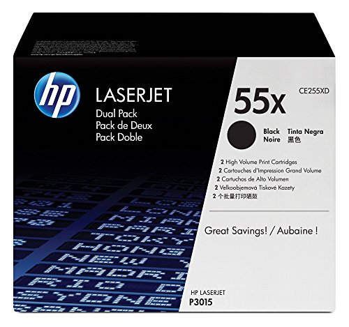 HP 55X (CE255X) Black Toner Cartridge High Yield, 2 Toner Cartridges - Remanufactured Hewlett Packard Laserjet