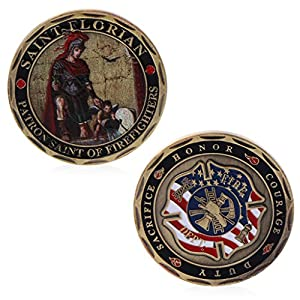 puhoon Commemorative Coin, St. Florian Patron Saint Firefighters Fire Rescue Commemorative Challenge Coin, Valuable Coin For Commemoration, 10# by puhoon