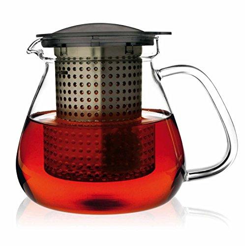finum Tea Control Glass Teapot with Brew-Stop Filter (28 oz, Black)