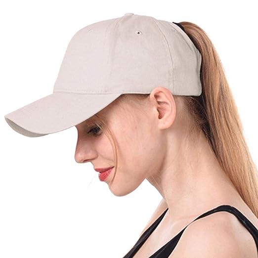 Muryobao Women s Ponycap Messy High Bun Ponytail Adjustable Baseball Cap  Glitter Plain Trucker Dad Hat Cotton 83cbf977d6e3