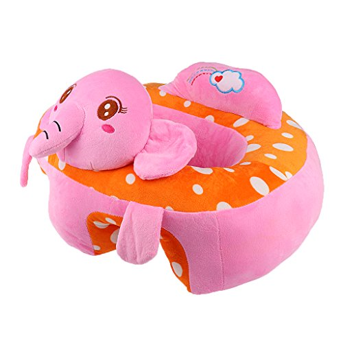 MonkeyJack Colorful Baby Support Seat Learn Sit Soft Chair Cushion Sofa Plush Pillow Toys – Pink Elephant