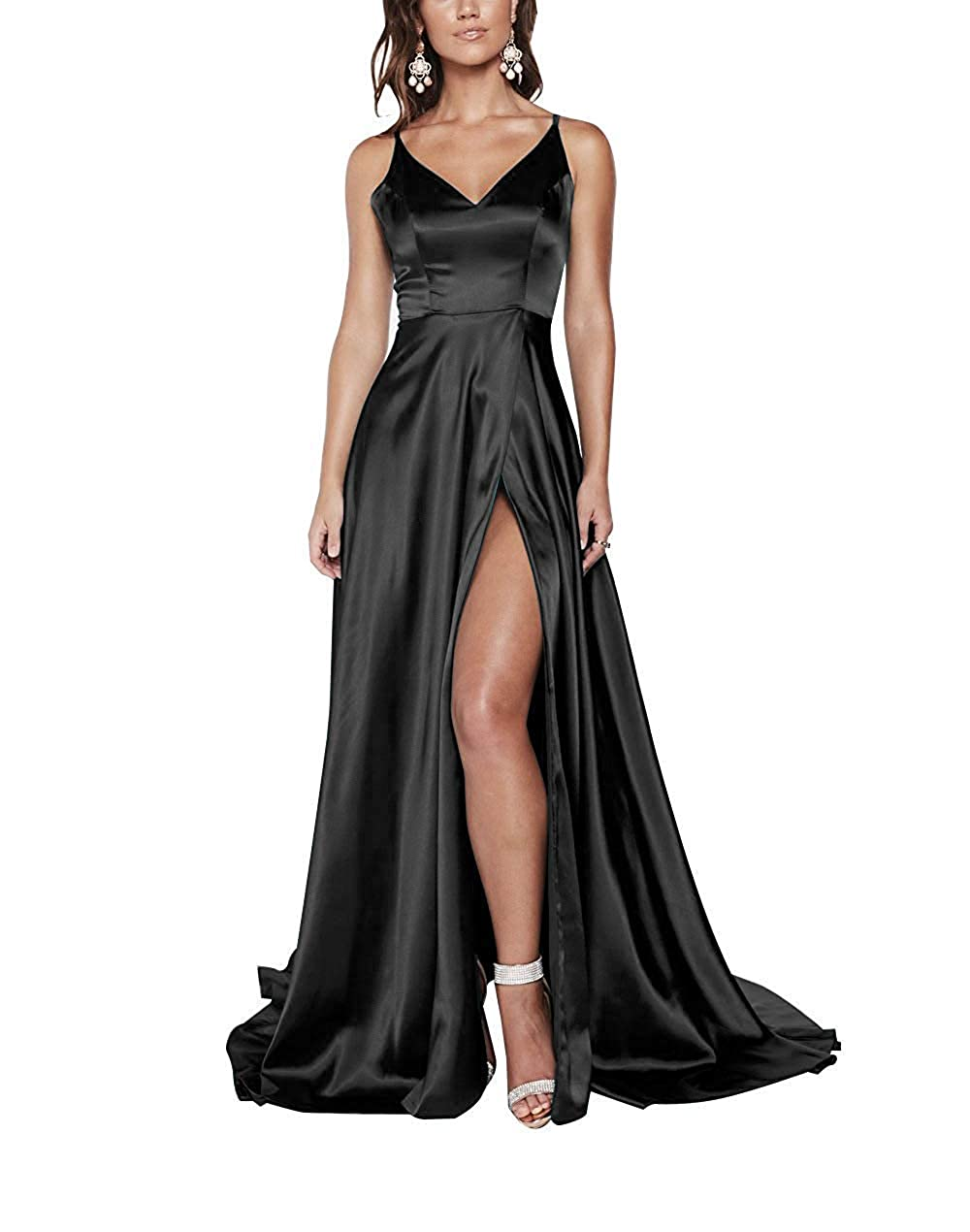Black ASBridal Prom Dresses Evening Gowns Long Satin Prom Gown for Women Split A Line Evening Dress
